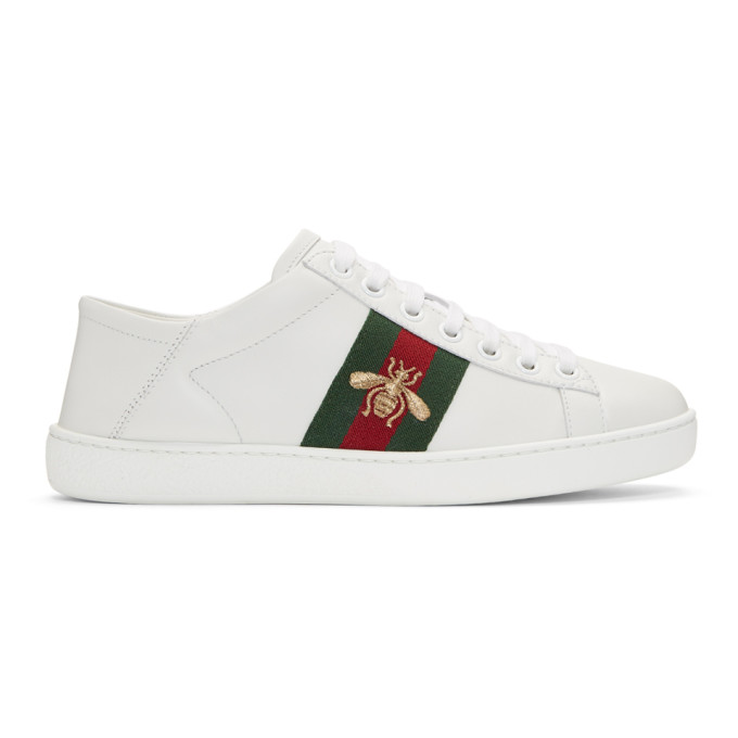 Gucci White Bee Ace Folded Sneakers