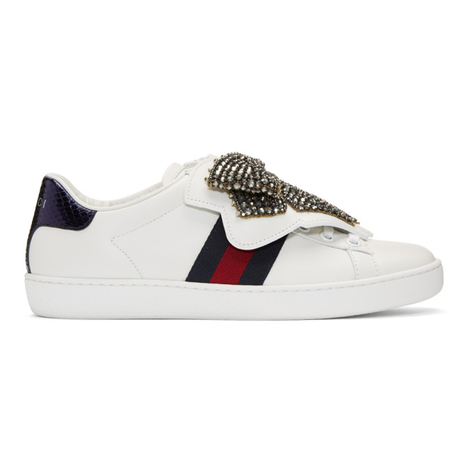 Gucci White Crystal Bow Ace Sneakers