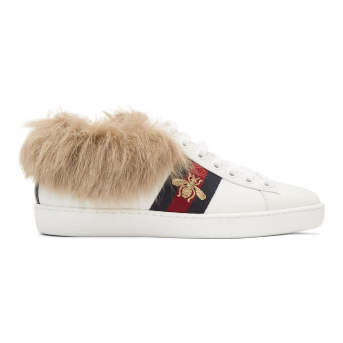 be771b07e5a Gucci White New Ace Wool Lined Sneakers
