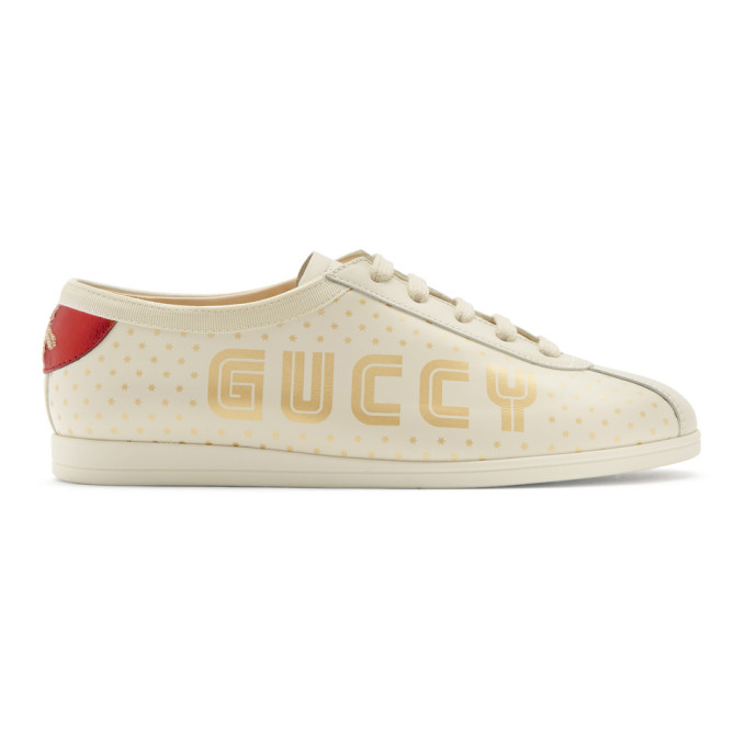 Gucci White Sega 'Guccy' Falacer Bowling Sneakers