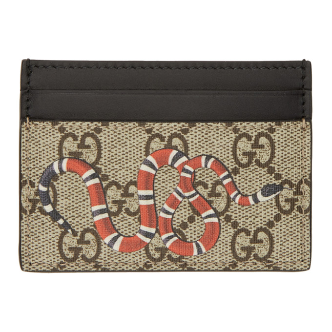 Image of Gucci Beige & Black GG Supreme Snake Card Holder