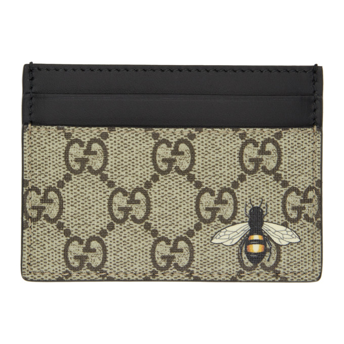 Image of Gucci Beige & Black GG Supreme Bee Card Holder