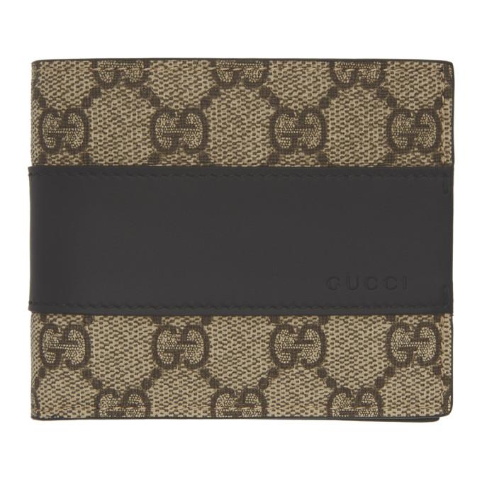 Image of Gucci Beige & Black GG Supreme Band Wallet