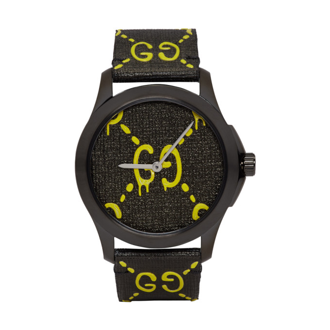 Gucci Black and Yellow G Timeless GucciGhost Watch