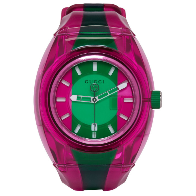 Gucci Pink and Green G Sync Watch