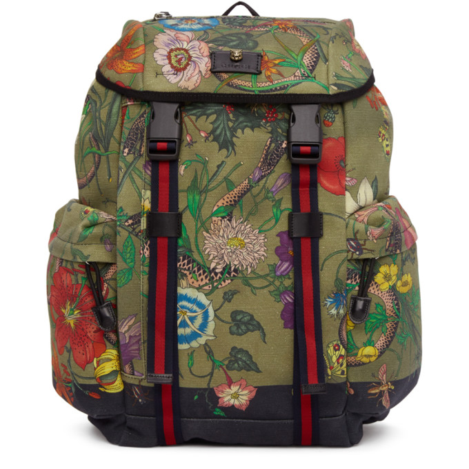 Gucci Multicolor Canvas Flora Snake Print Backpack