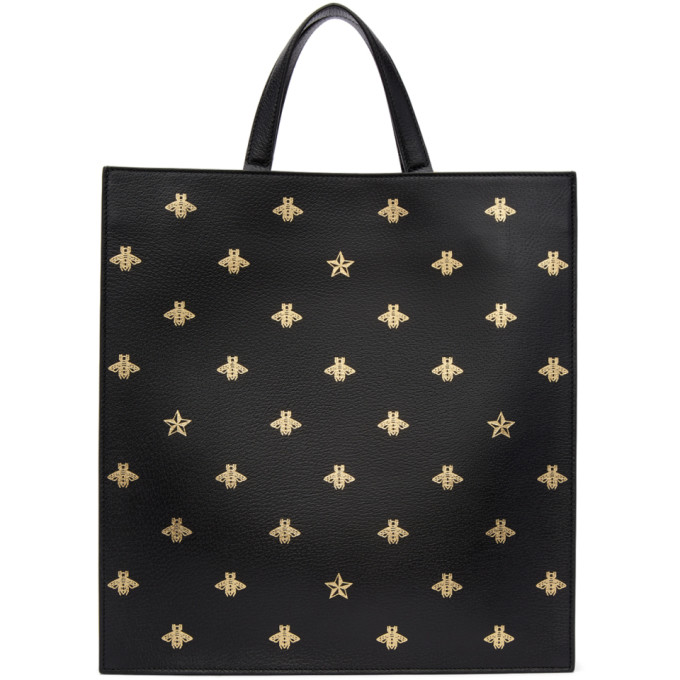 Gucci Black Leather Bees Tote