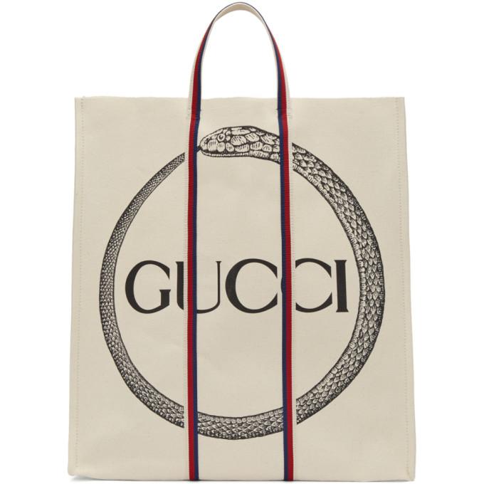 Gucci オフホワイト ウロボロス ロゴ トート