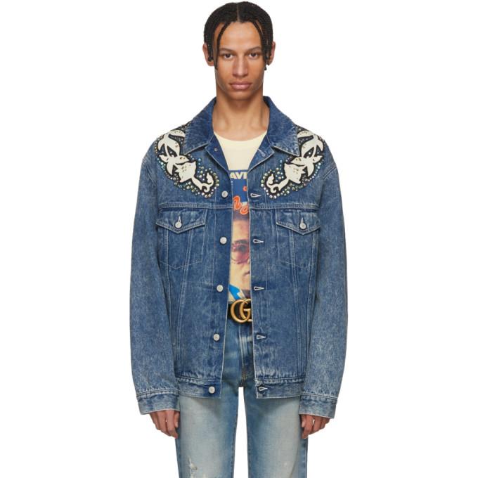 Gucci ブルー デニム マーブル ウォッシュ ジャケット