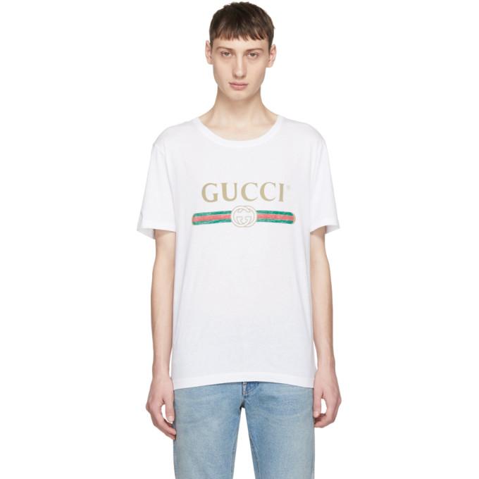 Gucci ホワイト クラシック ロゴ T シャツ