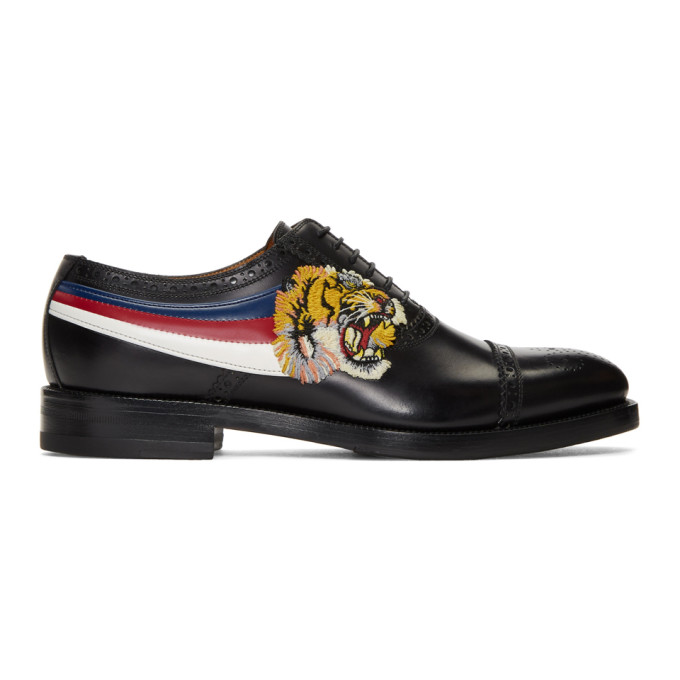 Gucci Black Tiger Appeal Brogues