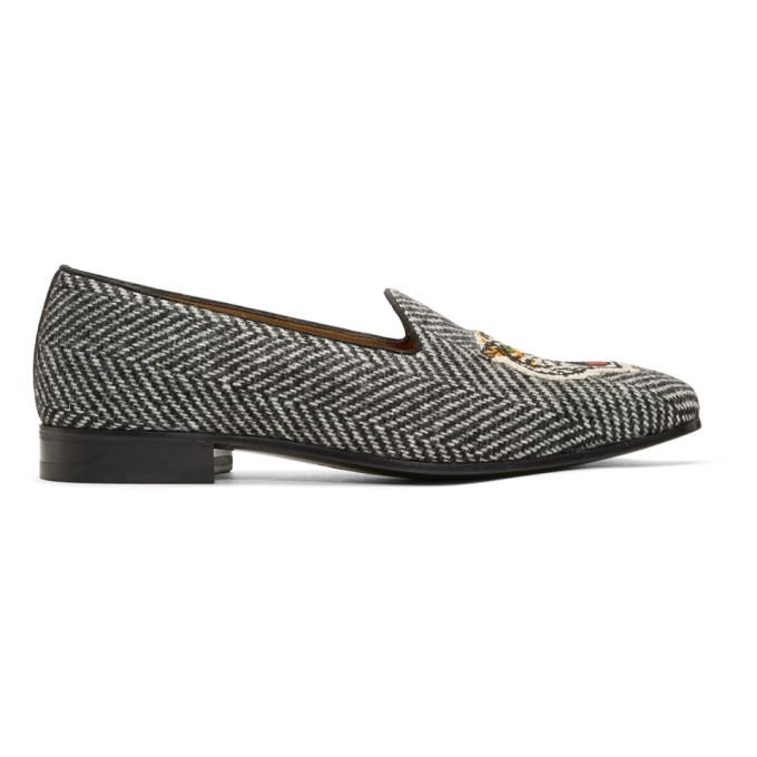 Gucci Black & White Gallipoli Loafers