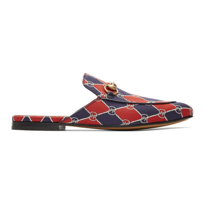 Gucci Navy & Red Kings GG Slippers