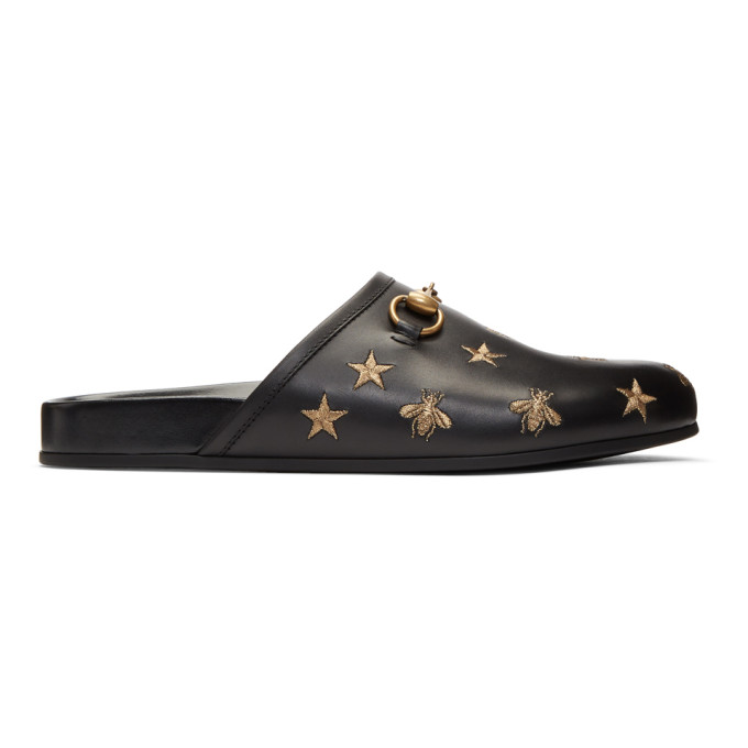 Gucci Black Embroidered Horsebit River Slippers
