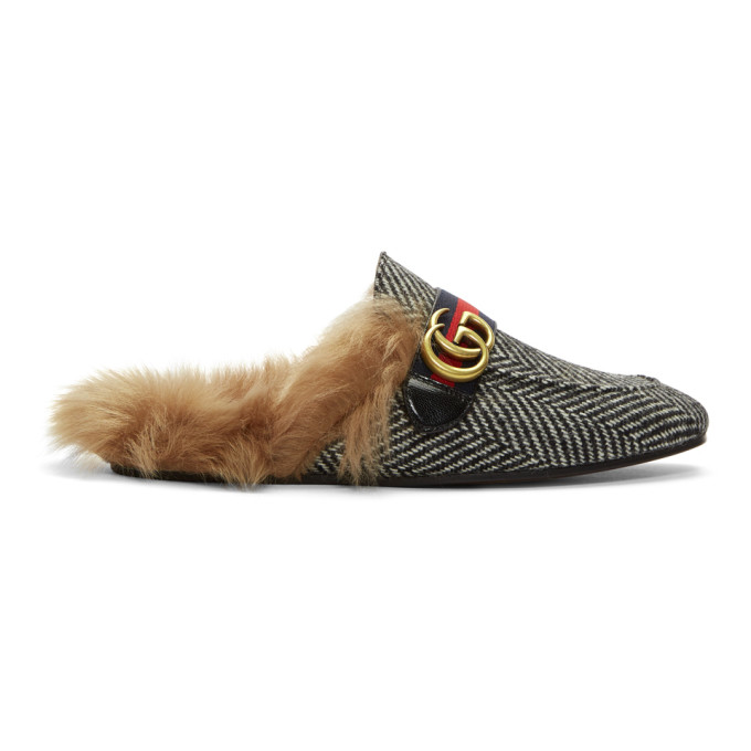 Gucci Black & White Herringbone Wool-Lined Princetown Slip-On Loafers