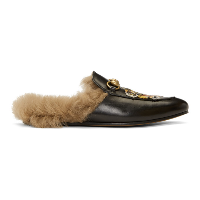 Gucci Black Wool-Lined Tiger Princetown Slippers