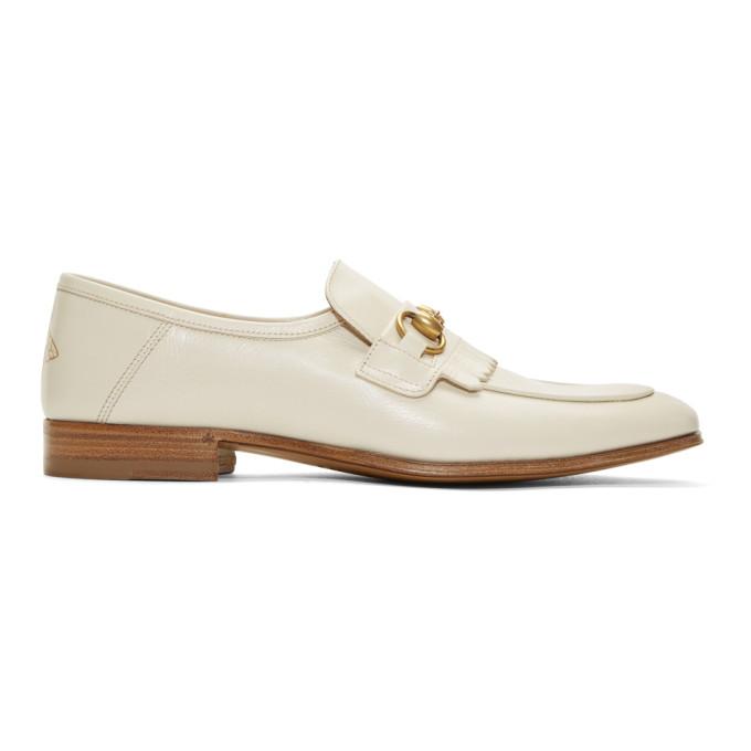 Gucci White Harbor Loafers