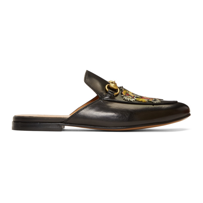 Gucci Black Tiger Princetown Slippers