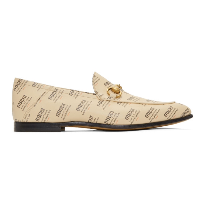 Gucci Off-White All Over Logo Stamp Brixton Loafers