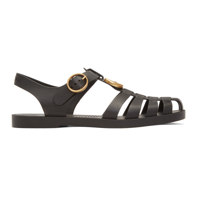 Image of Gucci Black Glossy Rubber Sandals