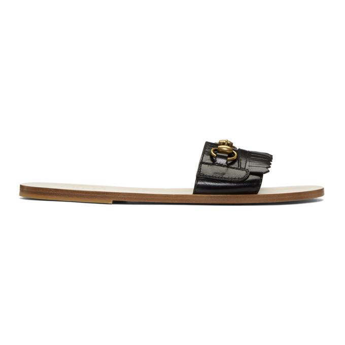 Gucci Black Vardero Fringe Sandals
