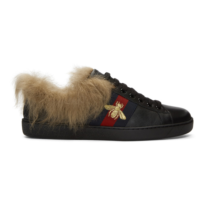 Gucci Black Wool-Lined New Ace Sneakers