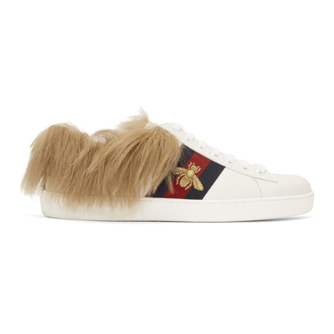 Gucci White Wool-Lined New Ace Sneakers