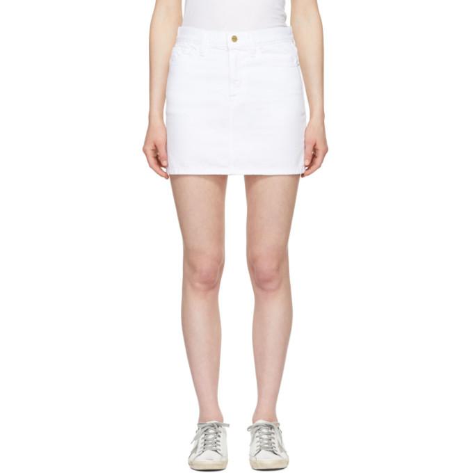 FRAME White Le Mini Denim Skirt