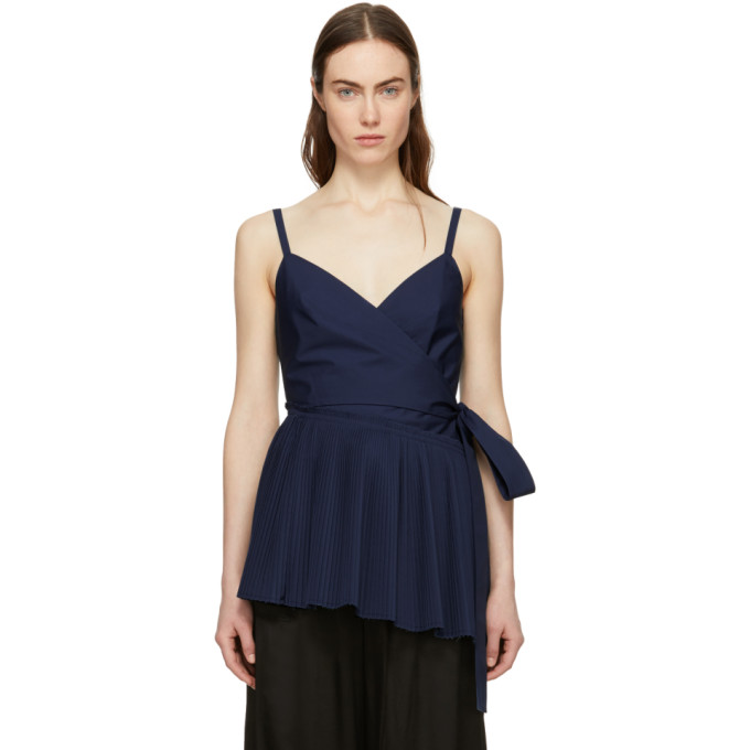 Image of Cédric Charlier Navy Asymmetric Ruffle Camisole