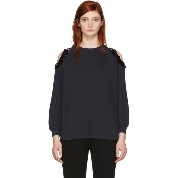 Image of Nina Ricci Navy Sequin Cut-Out Sweatshirt