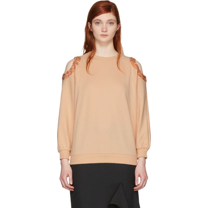 Image of Nina Ricci Pink Sequin Cut-Out Sweatshirt