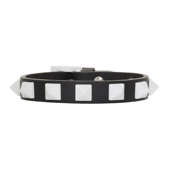 Image of Valentino Black & White Valentino Garavani Rockstud Free Bracelet