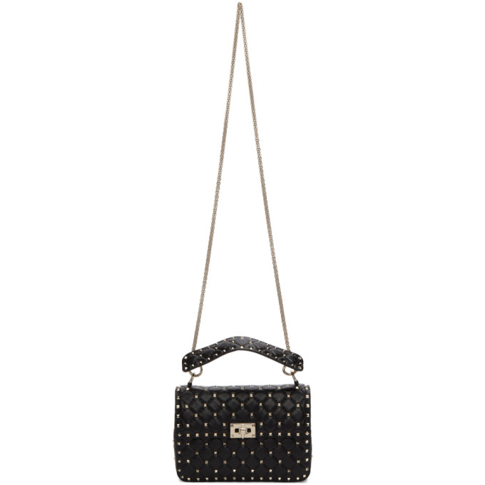 Valentino Black Valentino Garavani Medium Rockstud Spike Matelasse Chain Bag