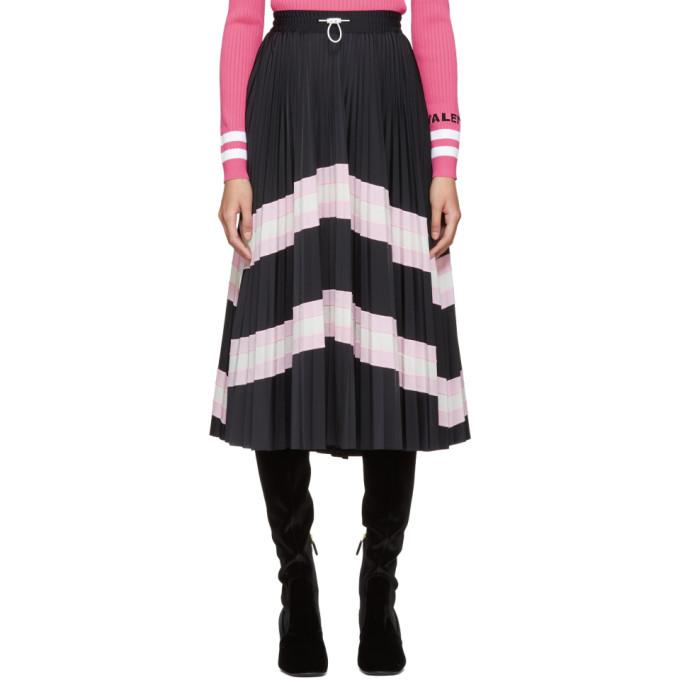 Image of Valentino Black Pleated Drawstring Skirt