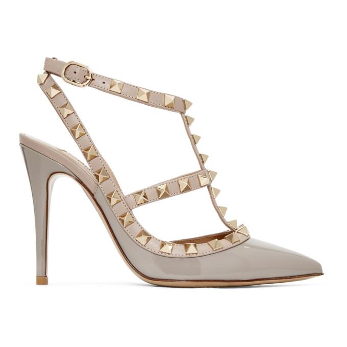 Valentino Grey Valentino Garavani Patent Rockstud Cage Heels