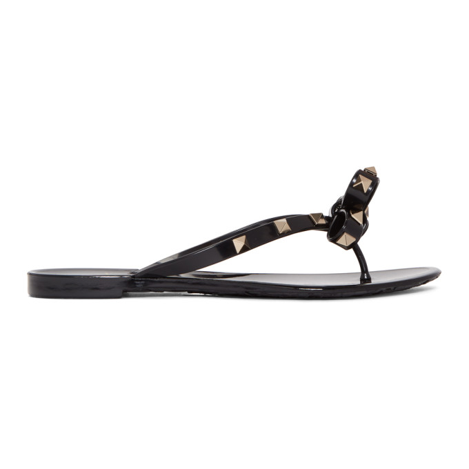 Valentino Black Valentino Garavani Rockstud Jelly Bow Sandals