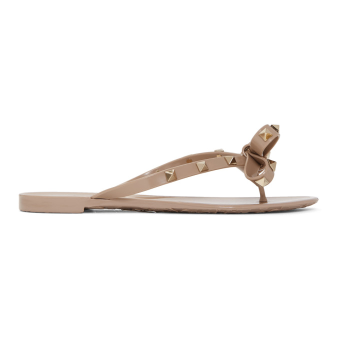 Valentino Taupe Valentino Garavani Rockstud Bow Sandals