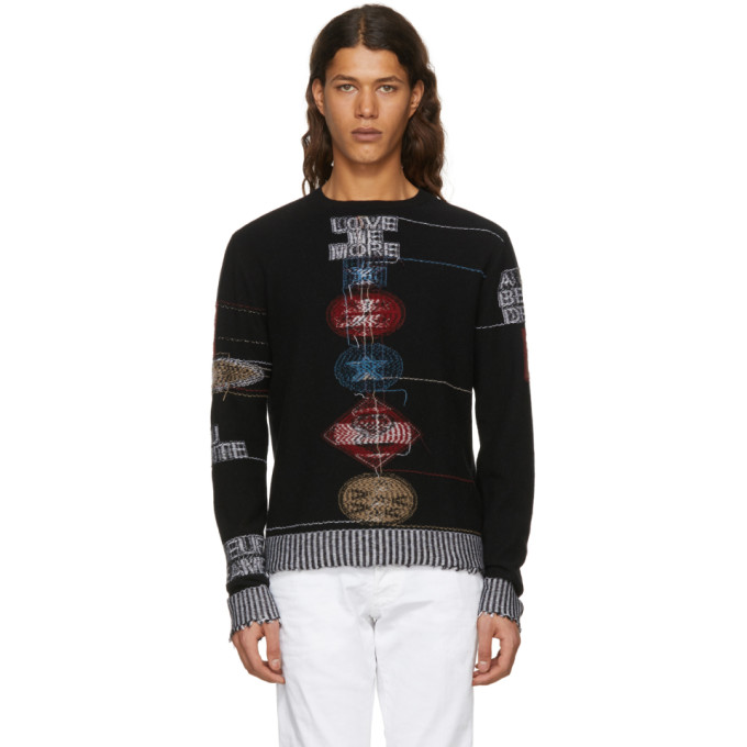 Image of Valentino Black Cashmere Reverse Embroidered Sweater