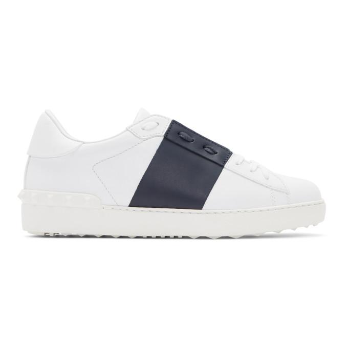 Valentino White & Navy Valentino Garavani Open Sneakers