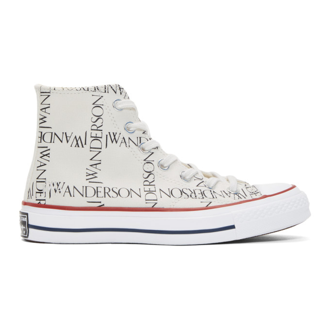 JW Anderson White Converse Edition All Over Logo Chuck Taylor All Star 70s Hi Sneakers