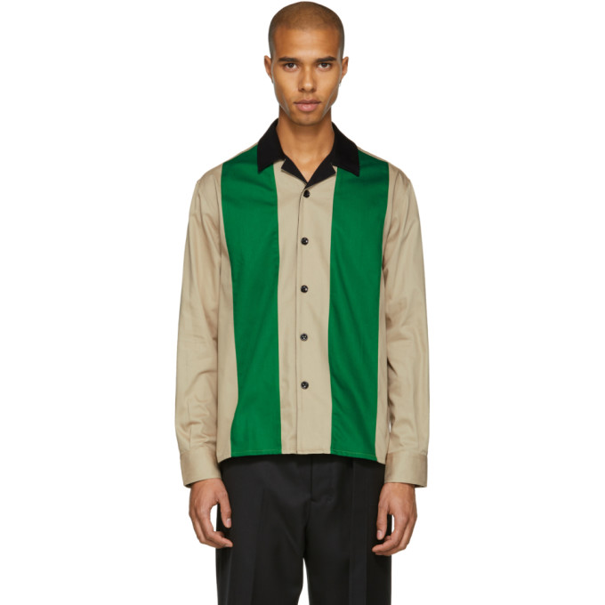 Image of AMI Alexandre Mattiussi Beige & Green Colorblock Shirt