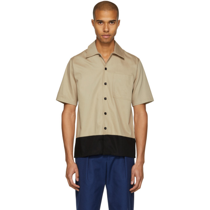 Image of AMI Alexandre Mattiussi Beige & Black Colorblock Shirt
