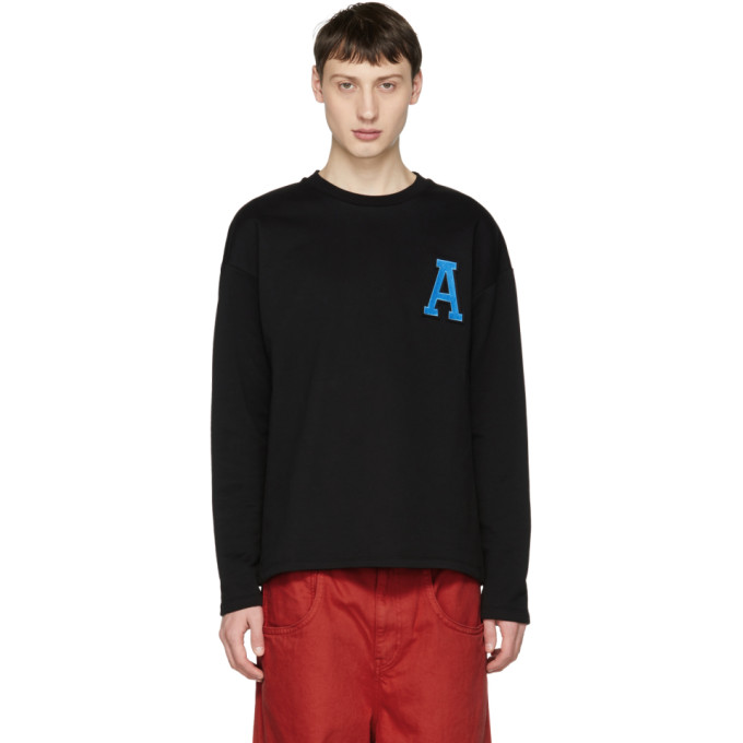 Image of AMI Alexandre Mattiussi Black 'A' Patch Sweatshirt