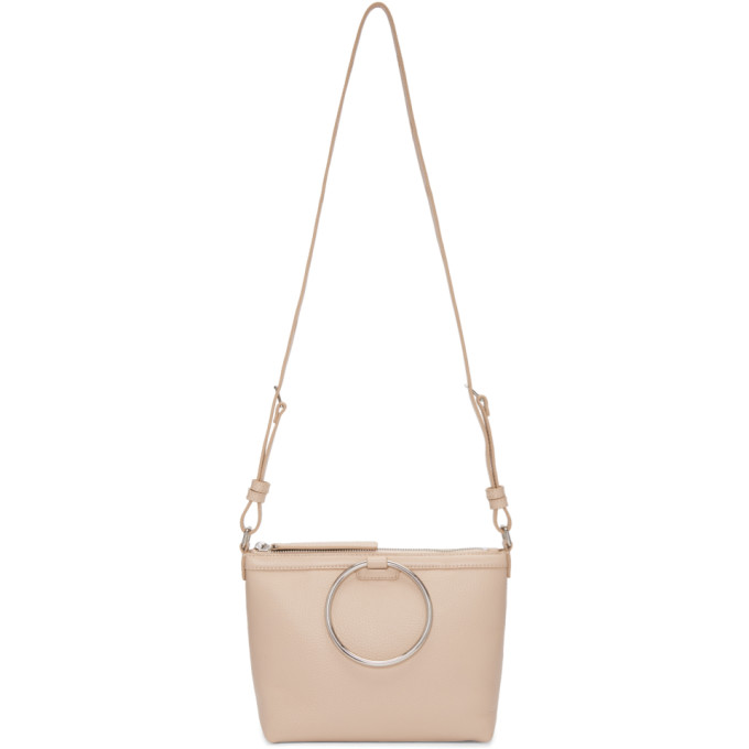 Kara Pink Pebble Leather Ring Crossbody Bag