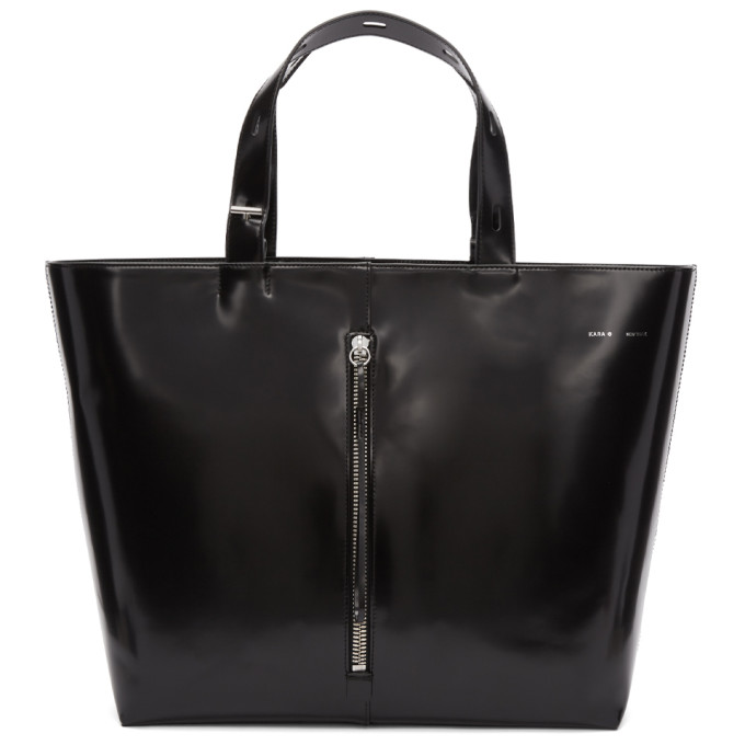Image of Kara Black Large Polished Leather Tote