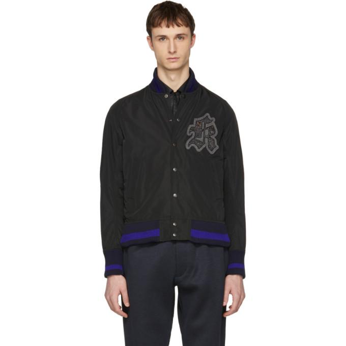 Kolor Black Logo Patch Bomber Jacket