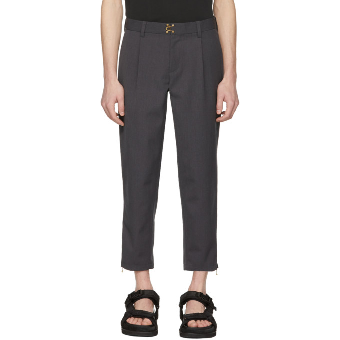 Image of Kolor Grey Clasp Closure Trousers