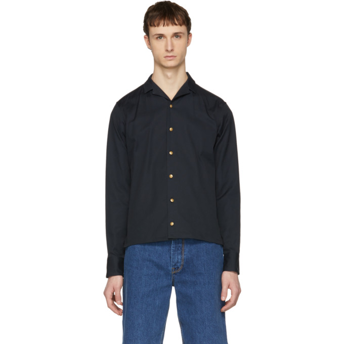Image of Kolor Navy Button Down Shirt