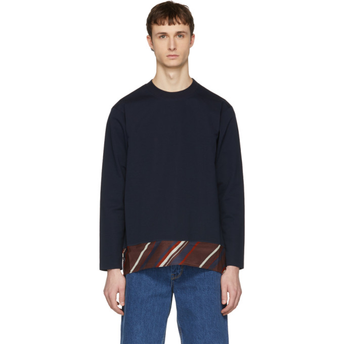 Image of Kolor Navy Contrast Sweater