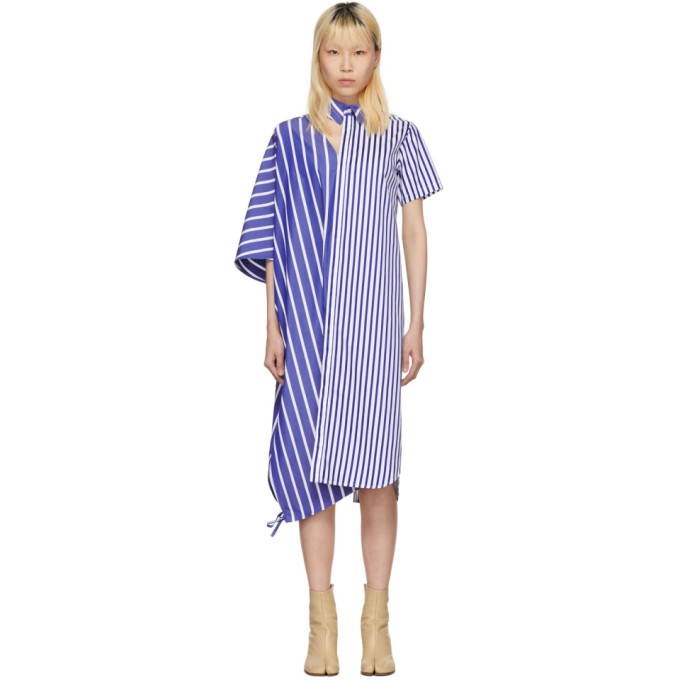 Facetasm Blue & White Striped Asymmetric Shirt Dress